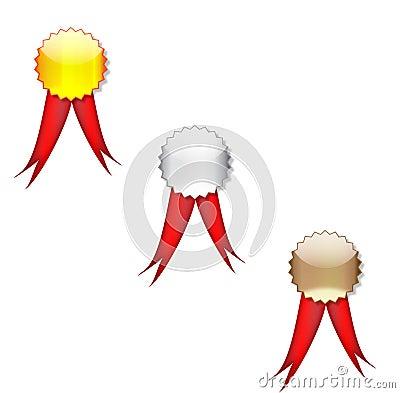 Badges red ribbon