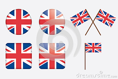 Badges with United Kingdom flag