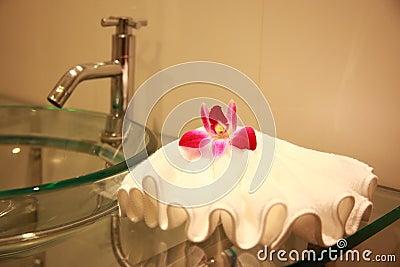 Badkamers met orchidee
