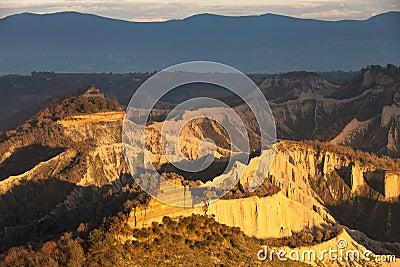 Badlands valley Clay mountains. Lazio, Italy.