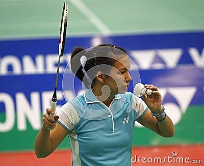 Badminton belgium woman serve shuttlecock Editorial Photo