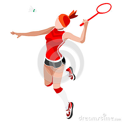 Free Badminton Player Summer Games Icon Set.3D Isometric Badminton Player. Royalty Free Stock Photo - 73533025