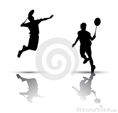 Badminton players silhouette
