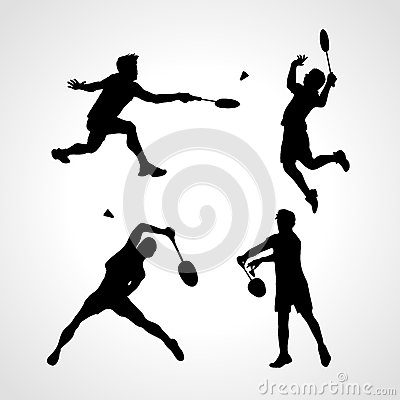 Free Badminton Players Silhouettes Set Royalty Free Stock Image - 68535336