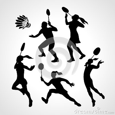 Free Badminton Players Silhouettes Set Stock Photography - 78663402