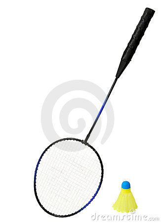 Badminton Racket and a Birdie