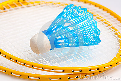 Badminton rackets with a shuttle