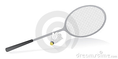 Badminton racquet with shuttle