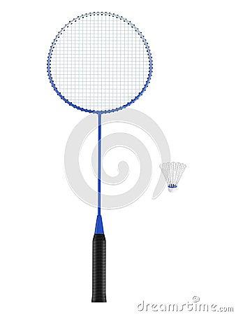 Badminton racquet with shuttlecock