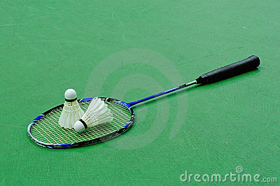 Badminton - two shuttlecocks on racket
