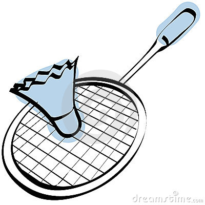 sketch of a badminton racket + vector EPS file.