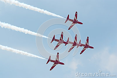 BAe Hawk jets from Red Arrows display team Editorial Stock Image