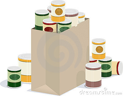 Bag of canned goods