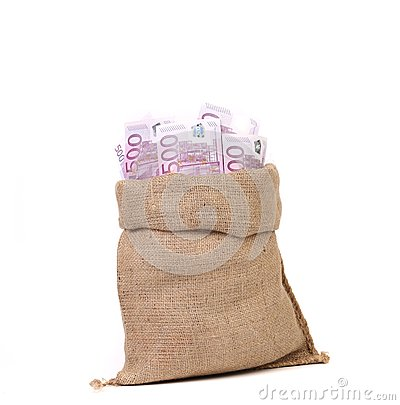 Bag full with of euro bills.