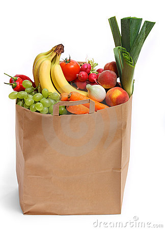 Free Bag Full Of Healthy Fruits And Vegetables Stock Photography - 10270482