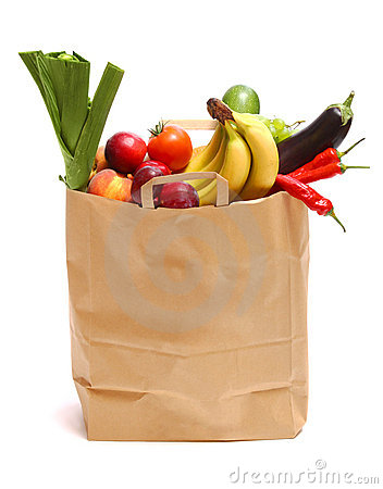 Free Bag Full Of Healthy Fruits And Vegetables Royalty Free Stock Image - 13123836