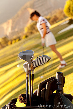 Bag of golf clubs outdoors