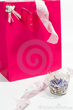 Bag of goodies with a cake