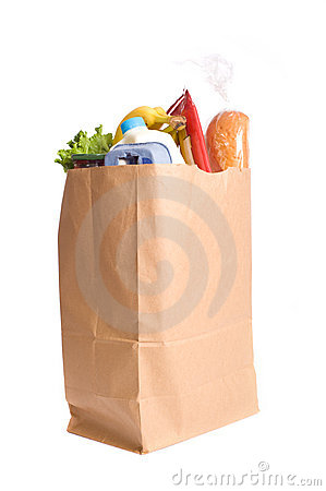 Bag of Groceries on WHite