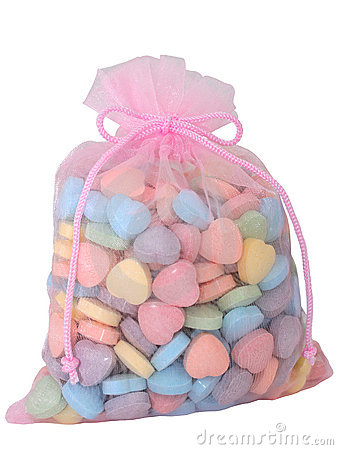 Bag of Heart Shaped Candies (8.2mp Image)