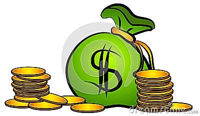 Bag of Money Coins Clip Art