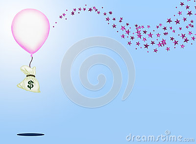 A Bag of Money and A Pink Balloon with Sparking Pi