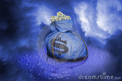 Bag of money on raindrops