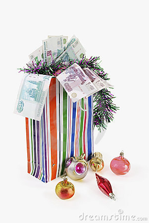 Bag with New Year s toys and denominations
