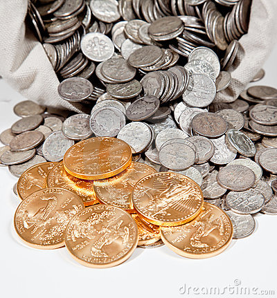 Free Bag Of Silver And Gold Coins Stock Photos - 17157473