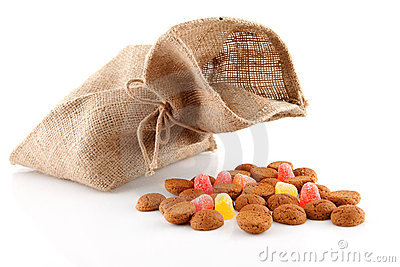 Bag with typical dutch sweets: pepernoten
