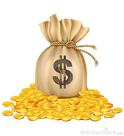Free Bag With Dollars Money On Pile Of Golden Coins Royalty Free Stock Photos - 13028848