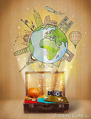 Bagaż z podróży ilustracyjnym pojęciem dookoła świata