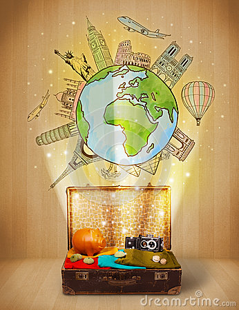 Bagagli con il viaggio intorno al concetto dell illustrazione del mondo