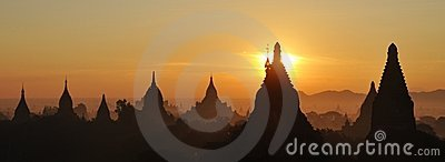 Bagan temples at sunrise in Myanmar