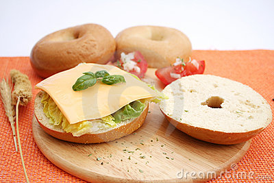 A bagel with cheese