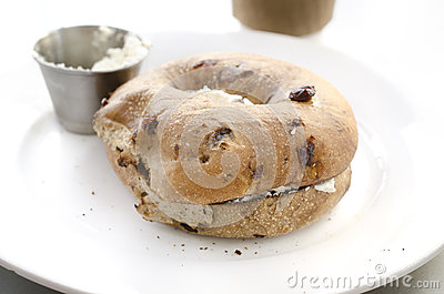 Bagel and cream cheese breakfast