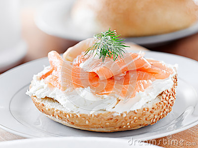 Bagel and lox with sprig of dill