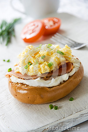 Bagel with Scrambled Egg Topping
