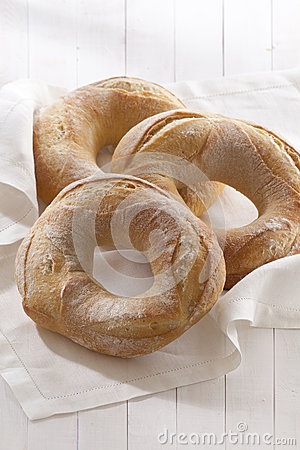Bagels bread on white