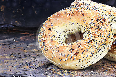Bagels on Rustic Background