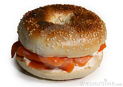 Bagels sandwich with smoked salmon and cream cheese