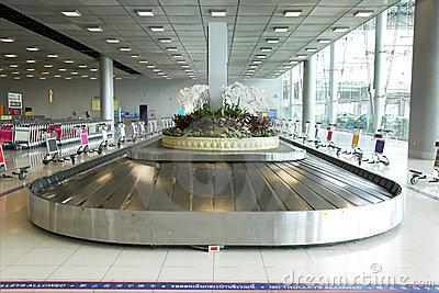 Baggage pickup carousel at the airport