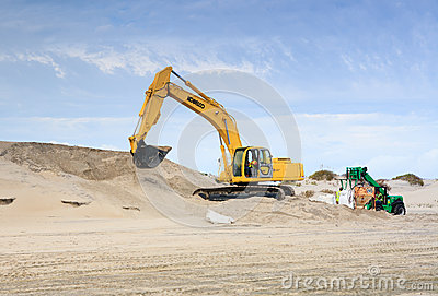Bagging Sand Hurricane Preparation Hatteras NC Editorial Stock Photo