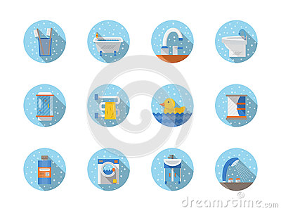 Bagno ed icone piane rotonde di igiene fotografia stock - Piane del bagno ...