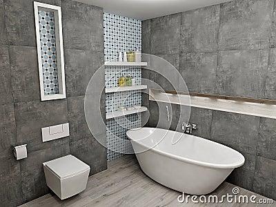 Bagno grigio moderno illustrazione di stock immagine 45191929 - Bagno moderno grigio ...
