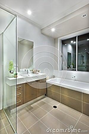Bagno moderno con le piastrelle per pavimento di colore scuro con ...