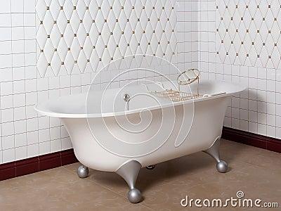 bagno moderno nell angolo mattonelle bianche