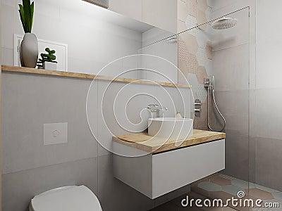 Bagno Rosa E Grigio Moderno Illustrazione di Stock - Immagine: 56984788