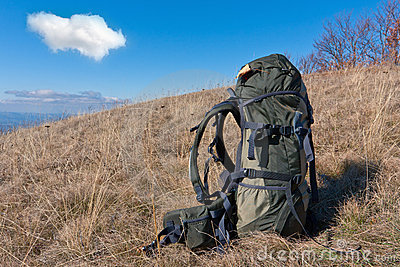 Bagpack on meadow