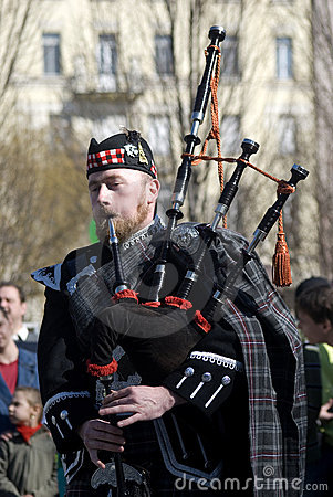 Bagpiper, Budapest, Hungary Editorial Image